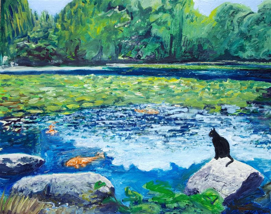 Original art for sale at UGallery.com | Wishing Pond by KAT SILVER | $875 |  | 16' h x 20' w | ..\art\oil-painting-Wishing-Pond