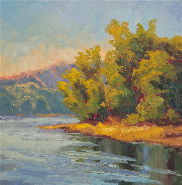 Original art for sale at UGallery.com | Spring Riverbank by KAREN E LEWIS | $375 |  | 12' h x 12' w | ..\art\oil-painting-Spring-Riverbank