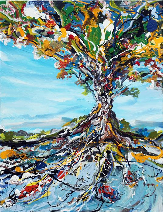 Original art for sale at UGallery.com | Glory Tree by PIERO MANRIQUE | $1,900 |  | 40' h x 30' w | ..\art\acrylic-painting-Glory-Tree