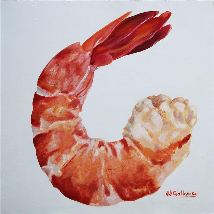 Original art for sale at UGallery.com | Shrimp II by JJ GALLOWAY | $575 |  | 12' h x 12' w | ..\art\oil-painting-Shrimp-II
