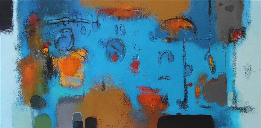 Original art for sale at UGallery.com | Untitled (Blue) by Orce Nineski | $3,150 | acrylic painting | 19.7' h x 39.4' w | ..\art\acrylic-painting-Untitled-Blue-57070