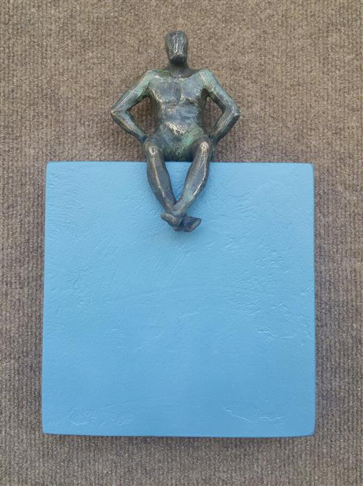 Original art for sale at UGallery.com | Small Being Sitting on Blue (U-09) by YELITZA DIAZ | $500 |  | 12' h x 8' w | ..\art\mixed-media-artwork-Small-Being-Sitting-on-Blue-U-09