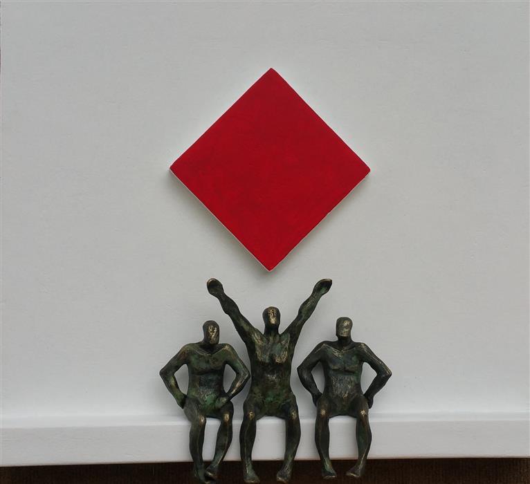 Original art for sale at UGallery.com | Tribute to Mondrian, Red Diamond (U-14) by Yelitza Diaz | $1,100 | mixed media artwork | 18' h x 21' w | ..\art\mixed-media-artwork-Tribute-to-Mondrian-Red-Diamond-U-14