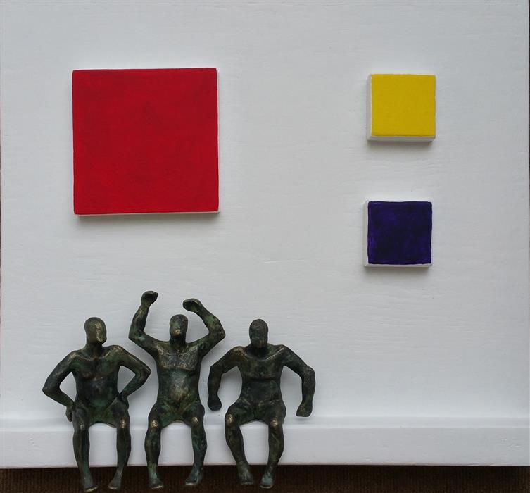 Original art for sale at UGallery.com | Tribute to Mondrian, Three Colors (U-15) by Yelitza Diaz | $1,100 | mixed media artwork | 18' h x 21' w | ..\art\mixed-media-artwork-Tribute-to-Mondrian-Three-Colors-U-15
