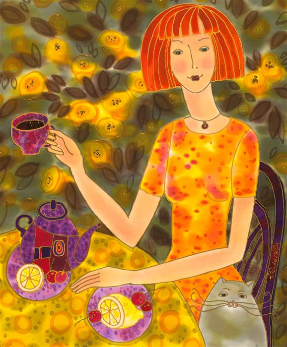 Original art for sale at UGallery.com | Tea Time, Whimsical Summer by YELENA SIDOROVA | $1,250 |  | 24' h x 20' w | ..\art\mixed-media-artwork-Tea-Time-Whimsical-Summer
