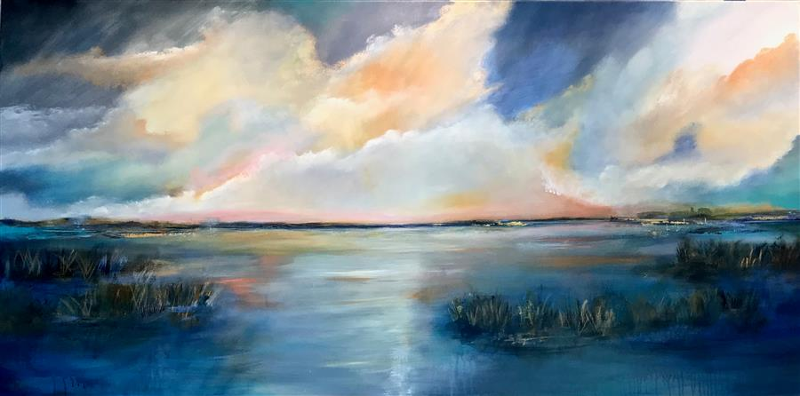 Original art for sale at UGallery.com | Serenity on the Lake by DL WATSON | $6,250 |  | 36' h x 72' w | ..\art\acrylic-painting-Serenity-on-the-Lake
