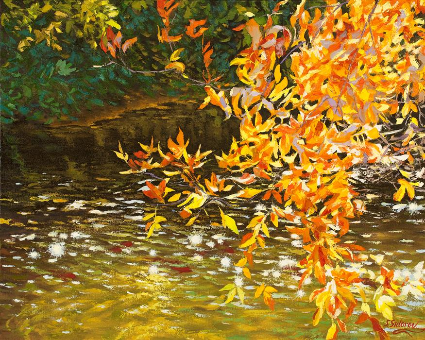 Original art for sale at UGallery.com | Sparkling River by STANISLAV SIDOROV | $1,575 |  | 24' h x 30' w | ..\art\oil-painting-Sparkling-River