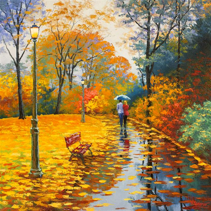 Original art for sale at UGallery.com | Out in the Rain by STANISLAV SIDOROV | $1,450 |  | 24' h x 24' w | ..\art\oil-painting-Out-in-the-Rain