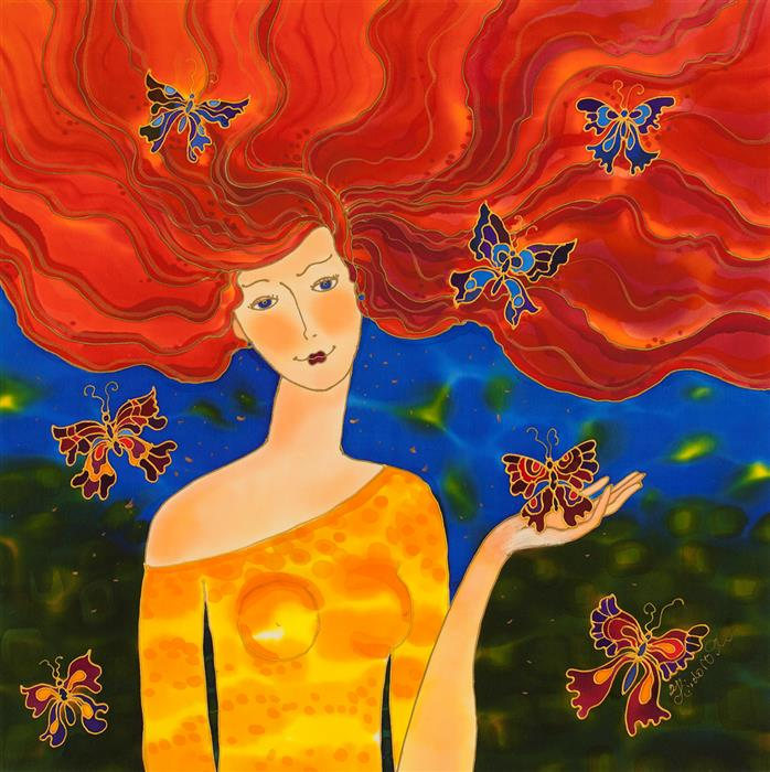 Original art for sale at UGallery.com | Wind of Butterflies by Yelena Sidorova | $1,100 | mixed media artwork | 24' h x 24' w | ..\art\mixed-media-artwork-Wind-of-Butterflies