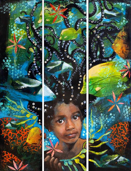 Original art for sale at UGallery.com | Antonia Under the Sea (Triptych) by DARLENE MCELROY | $2,050 |  | 24' h x 18' w | ..\art\mixed-media-artwork-Antonia-Under-the-Sea-Triptych