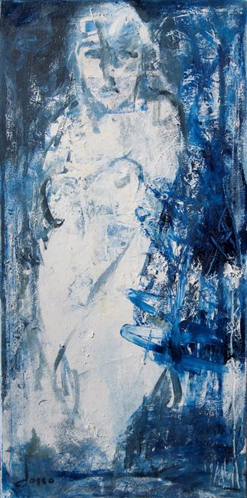 Original art for sale at UGallery.com | Blue Nude by ANNE DOSSO-POWELL | $650 |  | 24' h x 12' w | ..\art\oil-painting-Blue-Nude-57169