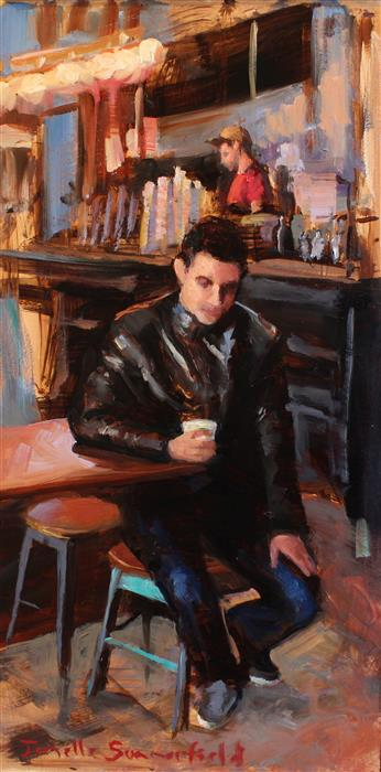 Original art for sale at UGallery.com | Espresso for One by JONELLE SUMMERFIELD | $475 |  | 12' h x 6' w | ..\art\oil-painting-Espresso-for-One