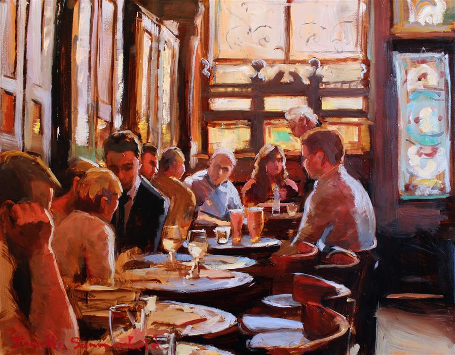 Original art for sale at UGallery.com | Happy Hour in Edinburgh by JONELLE SUMMERFIELD | $675 |  | 11' h x 14' w | ..\art\oil-painting-Happy-Hour-in-Edinburgh