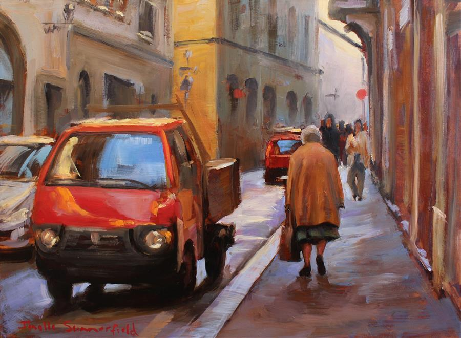 Original art for sale at UGallery.com | A Street in Florence by JONELLE SUMMERFIELD | $525 |  | 8' h x 10' w | ..\art\oil-painting-A-Street-in-Florence