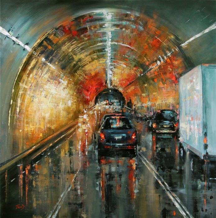 Original art for sale at UGallery.com | Before the Tunnel by SANDRA ZEKK | $2,200 |  | 36' h x 36' w | ..\art\oil-painting-Before-the-Tunnel