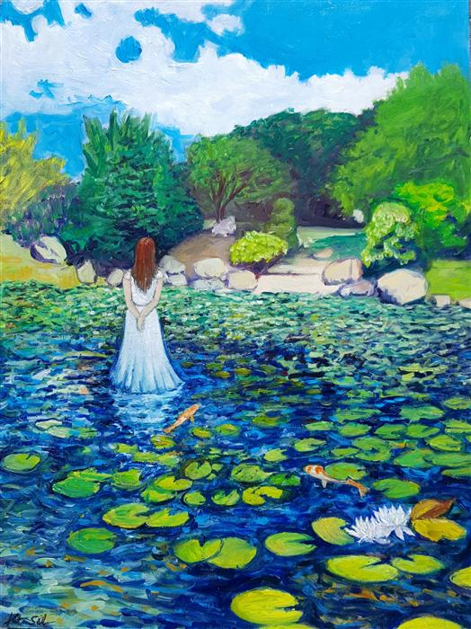Original art for sale at UGallery.com | Lady in Wading by KAT SILVER | $1,025 |  | 24' h x 18' w | ..\art\oil-painting-Lady-in-Wading