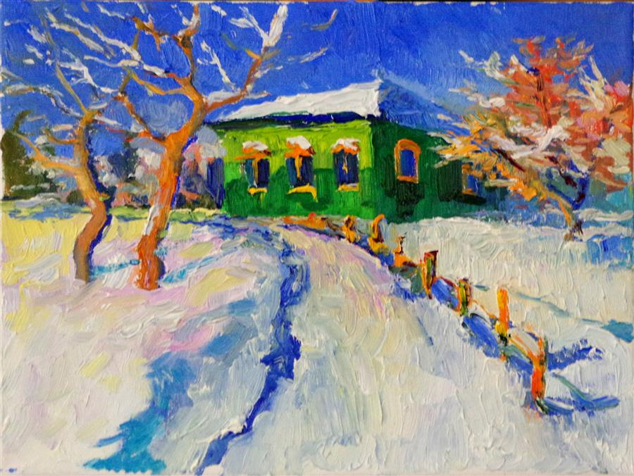 Original art for sale at UGallery.com | Winter Landscape with Old Green House by SUREN NERSISYAN | $350 |  | 9' h x 12' w | ..\art\oil-painting-Winter-Landscape-with-Old-Green-House