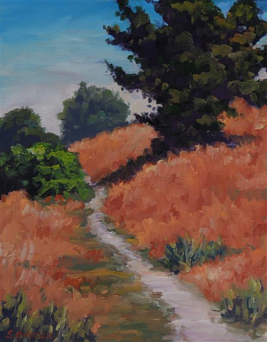 Original art for sale at UGallery.com | Path Through The Hills by STEVEN GUY BILODEAU | $525 |  | 14' h x 11' w | ..\art\oil-painting-Path-Through-The-Hills