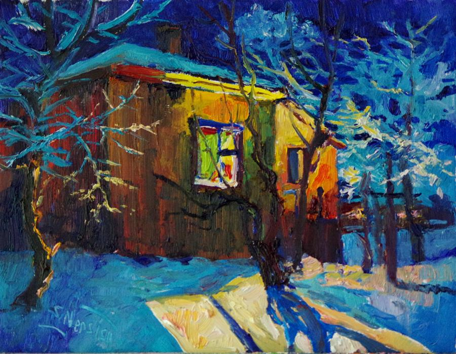 Original art for sale at UGallery.com | Warm Light from Old House, Winter Night by SUREN NERSISYAN | $500 |  | 11' h x 14' w | ..\art\oil-painting-Warm-Light-from-Old-House-Winter-Night