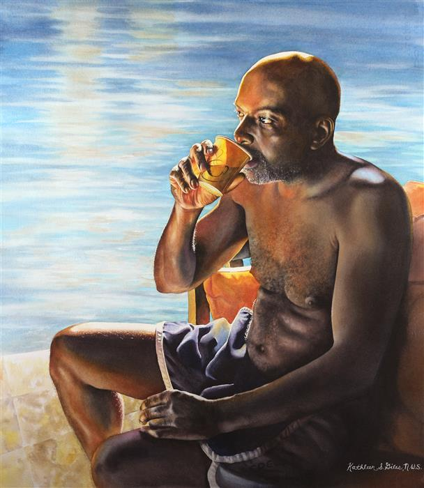 Original art for sale at UGallery.com | Man With the Yellow Cup by KATHLEEN  GILES | $1,975 |  | 25.5' h x 22' w | ..\art\watercolor-painting-Man-With-the-Yellow-Cup