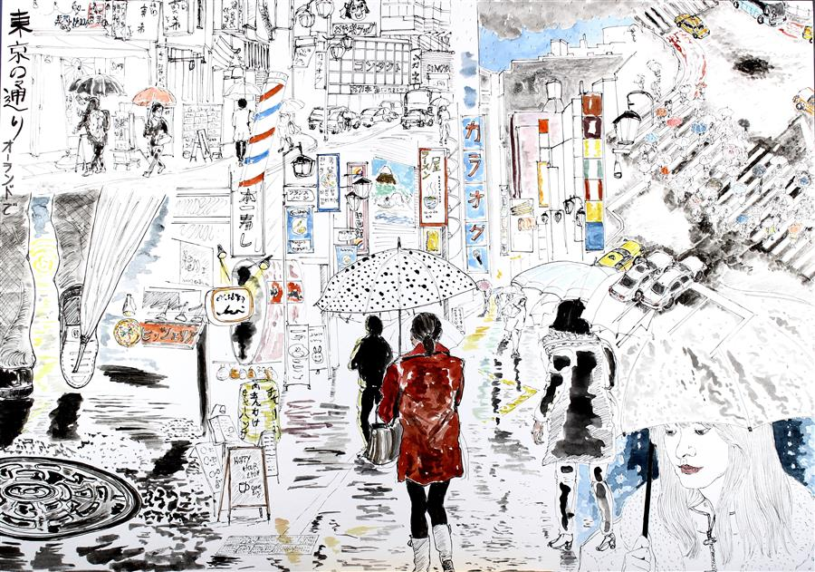 Original art for sale at UGallery.com | Streets of Tokyo by ORLANDO MARIN-LOPEZ | $850 |  | 11.7' h x 16.5' w | ..\art\watercolor-painting-Streets-of-Tokyo
