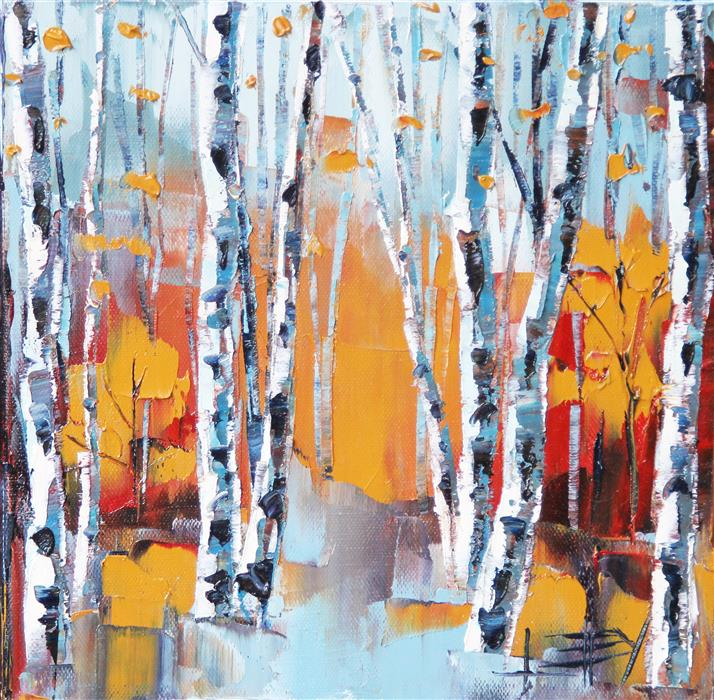 Original art for sale at UGallery.com | Elegant Birch by Lisa Elley | $300 | oil painting | 10' h x 10' w | ..\art\oil-painting-Elegant-Birch