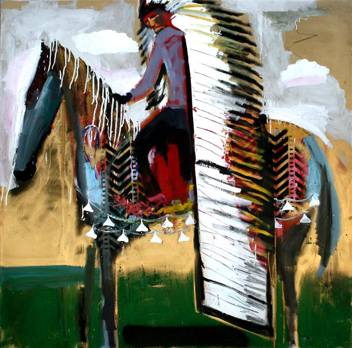 Original art for sale at UGallery.com | A Chief on a Decorated Horse by SCOTT DYKEMA | $5,200 |  | 48' h x 48' w | ..\art\mixed-media-artwork-A-Chief-on-a-Decorated-Horse