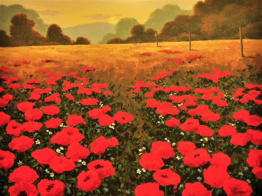 Original art for sale at UGallery.com | Brilliant Red Poppies by Robert Pennor | $2,050 | acrylic painting | 30' h x 40' w | ..\art\acrylic-painting-Brilliant-Red-Poppies