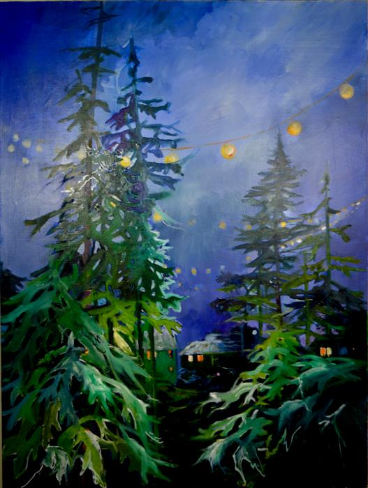 Original art for sale at UGallery.com | Winter Night, Christmas Night by JULIA  HACKER | $3,375 |  | 48' h x 36' w | ..\art\oil-painting-Winter-Night-Christmas-Night