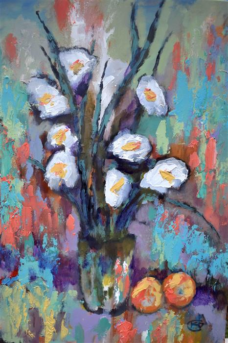 Original art for sale at UGallery.com | Gladiolas And Peaches by Kip Decker | $1,000 | acrylic painting | 30' h x 20' w | ..\art\acrylic-painting-Gladiolas-And-Peaches
