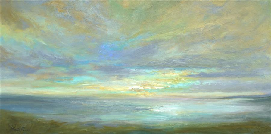 Original art for sale at UGallery.com | Coastal Sky V by Sheila Finch | $1,700 | oil painting | 12' h x 24' w | ..\art\oil-painting-Coastal-Sky-V