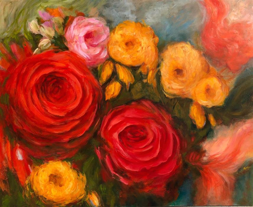 Original art for sale at UGallery.com | Rose Garden by FAITH TAYLOR | $4,975 |  | 48' h x 60' w | ..\art\acrylic-painting-Rose-Garden-57335
