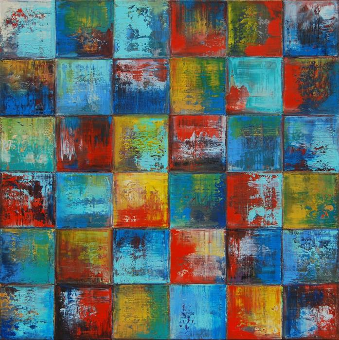 Original art for sale at UGallery.com | Squares 24B by JANET HAMILTON | $1,300 |  | 24' h x 24' w | ..\art\oil-painting-Squares-24B
