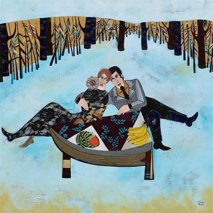 Original art for sale at UGallery.com   Picnic Day by Diana Rosa   $4,325   mixed media artwork   40' h x 49' w   ..\art\mixed-media-artwork-Picnic-Day