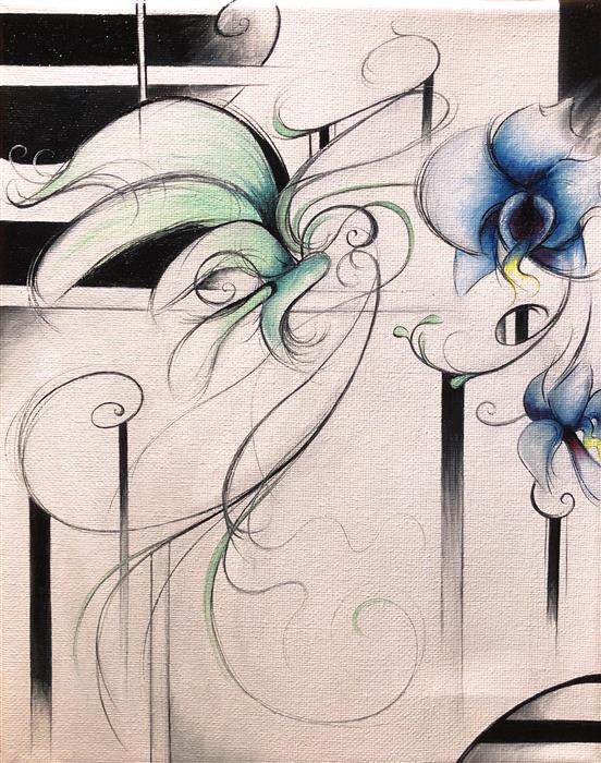 Original art for sale at UGallery.com | Blue Orchid by SUMNER CRENSHAW | $275 |  | 10' h x 8' w | ..\art\oil-painting-Blue-Orchid