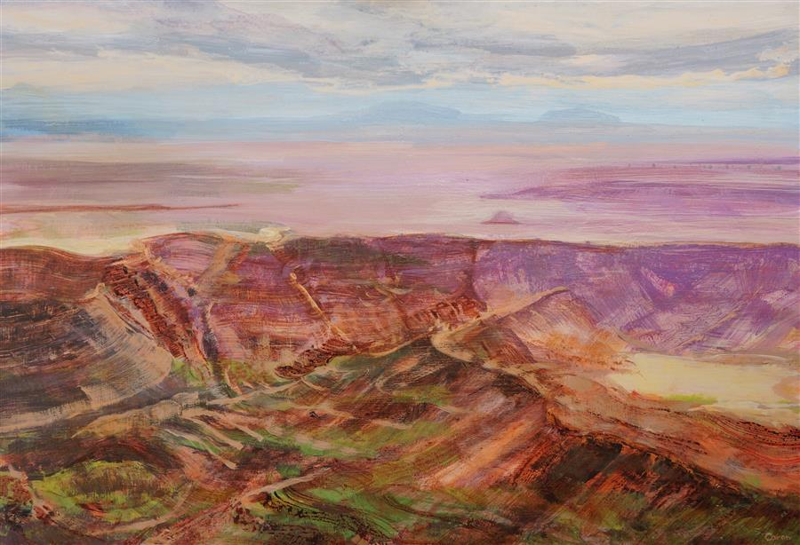 Original art for sale at UGallery.com | Canyonlands by Sidonie Caron | $4,800 | acrylic painting | 35' h x 51' w | ..\art\acrylic-painting-Canyonlands