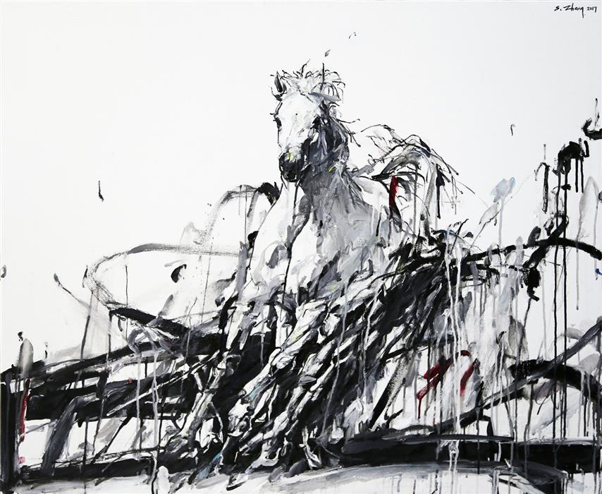 Original art for sale at UGallery.com | Wind Horse by SHAO YUAN ZHANG | $6,275 |  | 38' h x 46' w | ..\art\oil-painting-Wind-Horse