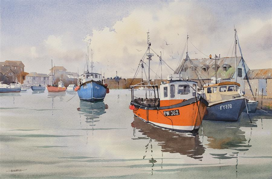 Original art for sale at UGallery.com | At Rest, Mevagissey by OLIVER PYLE | $1,300 |  | 13.5' h x 20.5' w | ..\art\watercolor-painting-At-Rest-Mevagissey