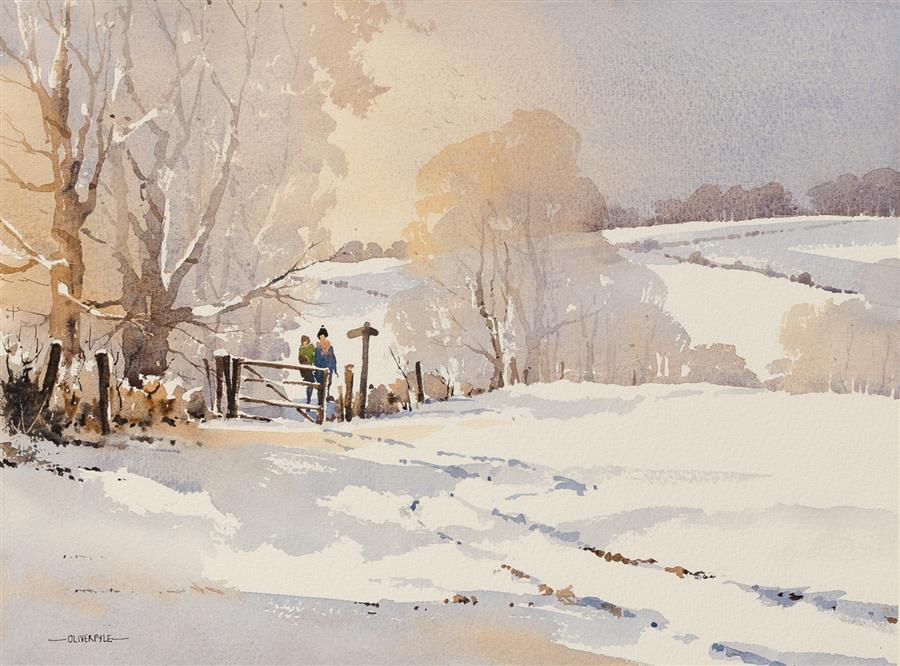 Original art for sale at UGallery.com | Sun, Snow, Sussex by OLIVER PYLE | $900 |  | 11.25' h x 15.75' w | ..\art\watercolor-painting-Sun-Snow-Sussex