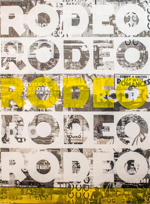 Original art for sale at UGallery.com | Rodeo, Rodeo | Yellow by MAURA ALLEN | $5,100 |  | 40' h x 30' w | ..\art\acrylic-painting-Rodeo-Rodeo-Yellow