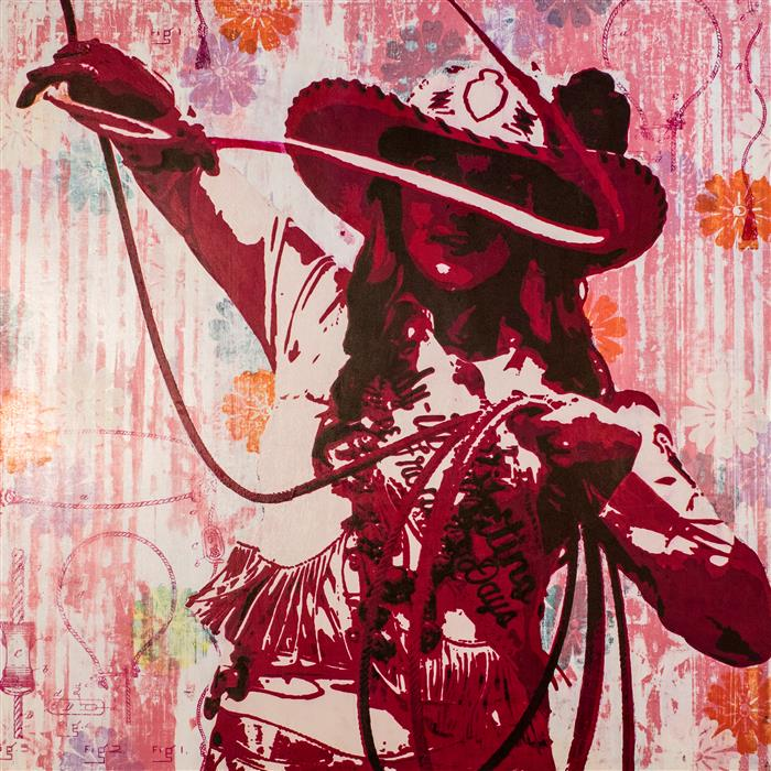 Original art for sale at UGallery.com | Sunshine in a Cowgirl Hat by MAURA ALLEN | $4,000 |  | 30' h x 30' w | ..\art\acrylic-painting-Sunshine-in-a-Cowgirl-Hat