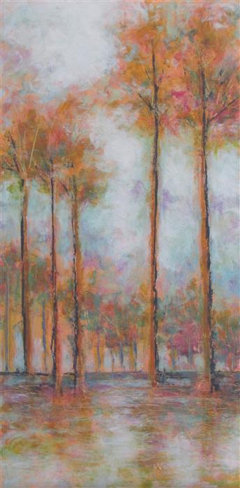 Original art for sale at UGallery.com | Tree Rows by Valerie Berkely | $400 | oil painting | 24' h x 12' w | ..\art\oil-painting-Tree-Rows