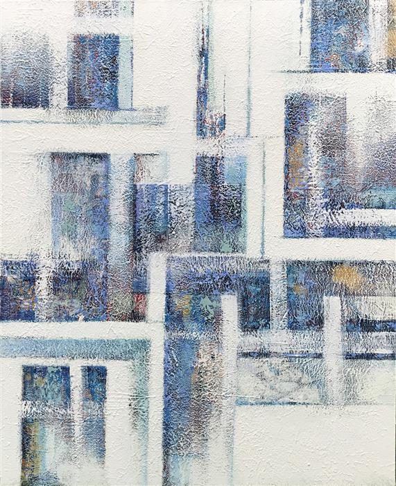 Original art for sale at UGallery.com | The City in Winter by MARION WOOD | $4,125 |  | 60' h x 48' w | ..\art\acrylic-painting-The-City-in-Winter