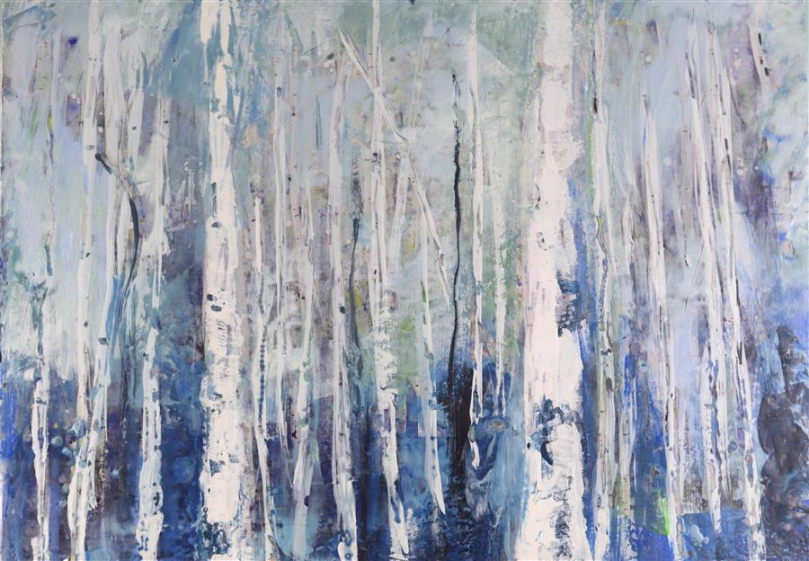 Original art for sale at UGallery.com | Morning Birch by TAMARA GONDA | $1,225 |  | 18' h x 24' w | ..\art\encaustic-artwork-Morning-Birch
