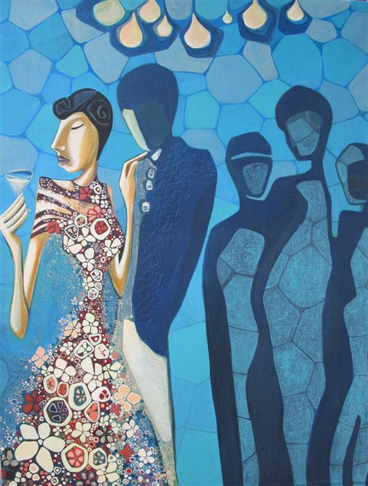 Original art for sale at UGallery.com | In Good Company by DIANA ELENA CHELARU | $1,600 |  | 36' h x 28' w | ..\art\acrylic-painting-In-Good-Company