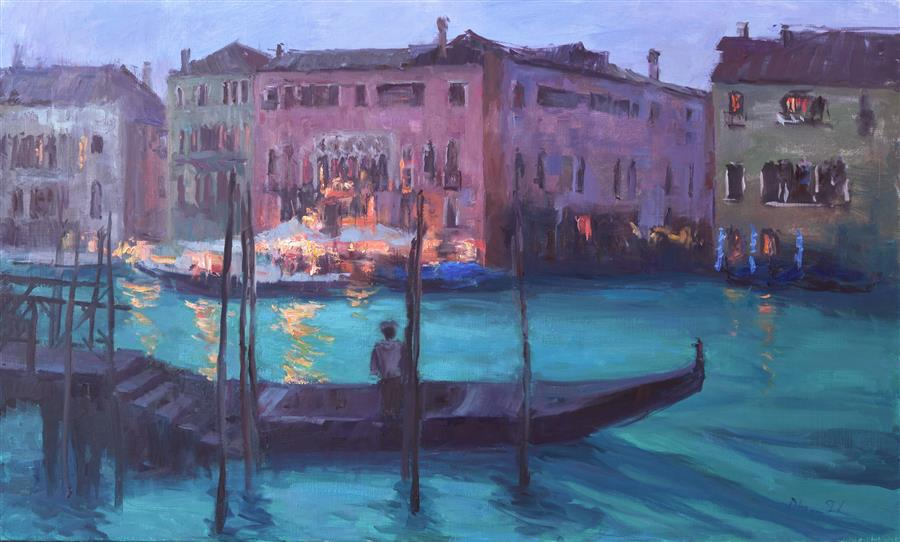 Original art for sale at UGallery.com | Evening by the Grand Canal by OKSANA JOHNSON | $2,125 |  | 24' h x 40' w | ..\art\oil-painting-Evening-by-the-Grand-Canal