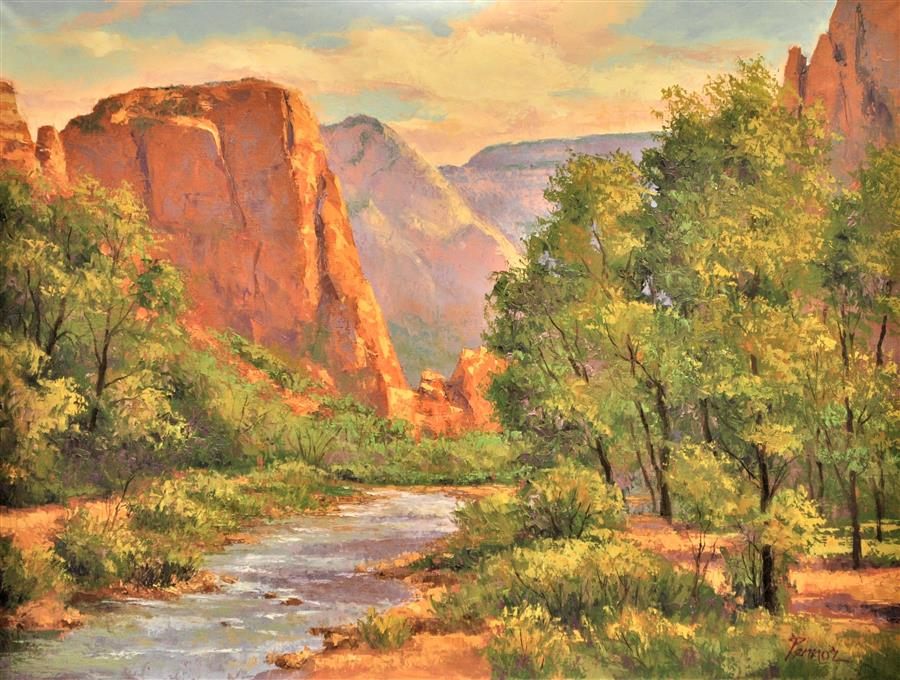Original art for sale at UGallery.com | Zion, Virgin River by ROBERT PENNOR | $1,200 |  | 18' h x 24' w | ..\art\oil-painting-Zion-Virgin-River
