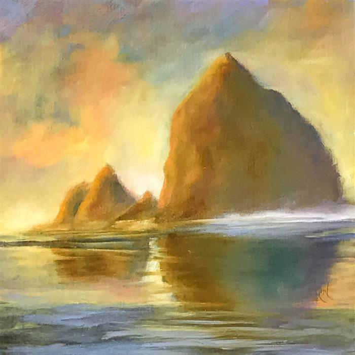 Original art for sale at UGallery.com | Haystack Rock XII by MANDY MAIN | $525 |  | 12' h x 12' w | ..\art\oil-painting-Haystack-Rock-XII