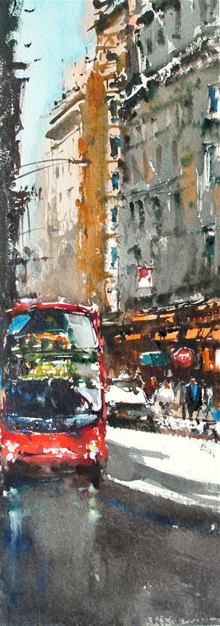 Original art for sale at UGallery.com | London Old Street by MAXIMILIAN DAMICO | $475 |  | 13' h x 5' w | ..\art\watercolor-painting-London-Old-Street