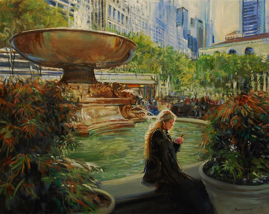 Original art for sale at UGallery.com | October Light In Bryant Park by ONELIO MARRERO | $900 |  | 16' h x 20' w | ..\art\oil-painting-October-Light-In-Bryant-Park